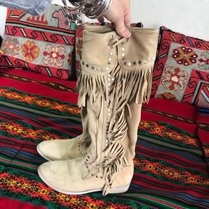 Vera Gomma fringe / stud boots made in Italy